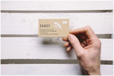 Creative die-cut business card with stamp