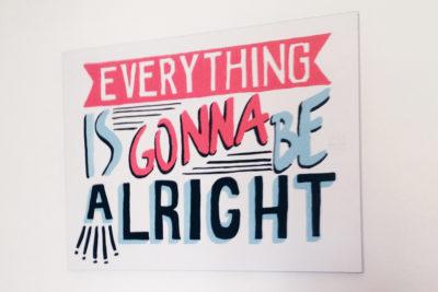 Composizione tipografica dipinta a mano, lettering