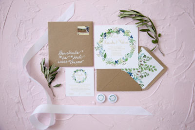 Wedding stationery floreale e verde, kraft – A & F