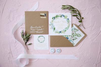 Wedding stationery floreale e verde, kraft – A & F