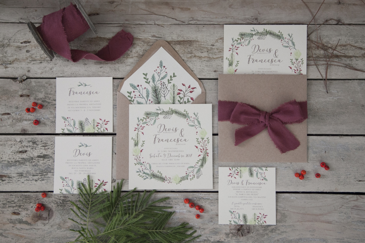 Partecipazioni Matrimonio Bohemien : Partecipazioni matrimonio invernale auca design