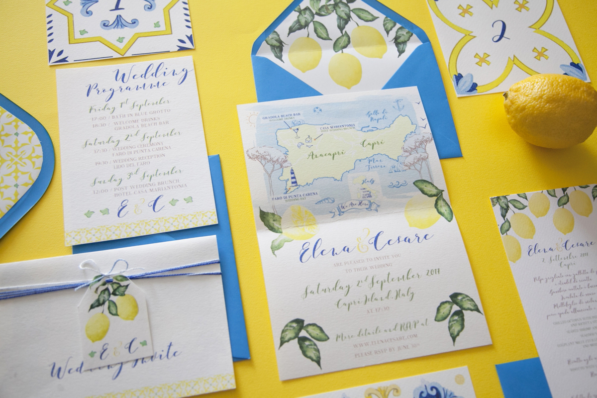 Capri Wedding Stationery Illustrata