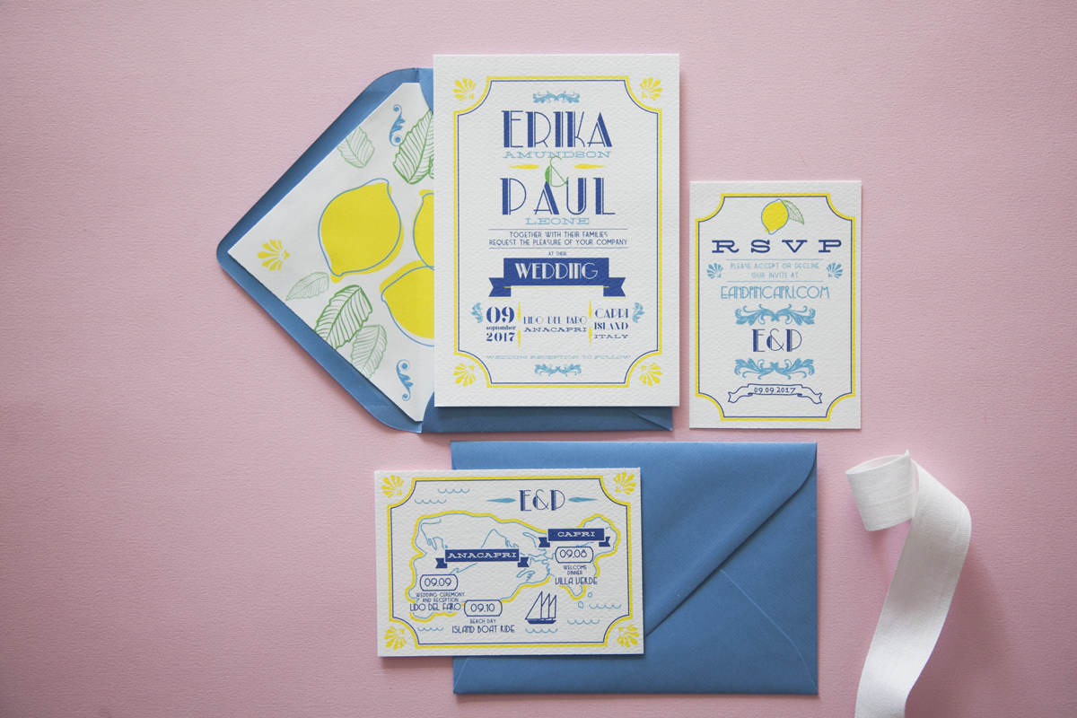 Rètro wedding stationery, Capri e limoni