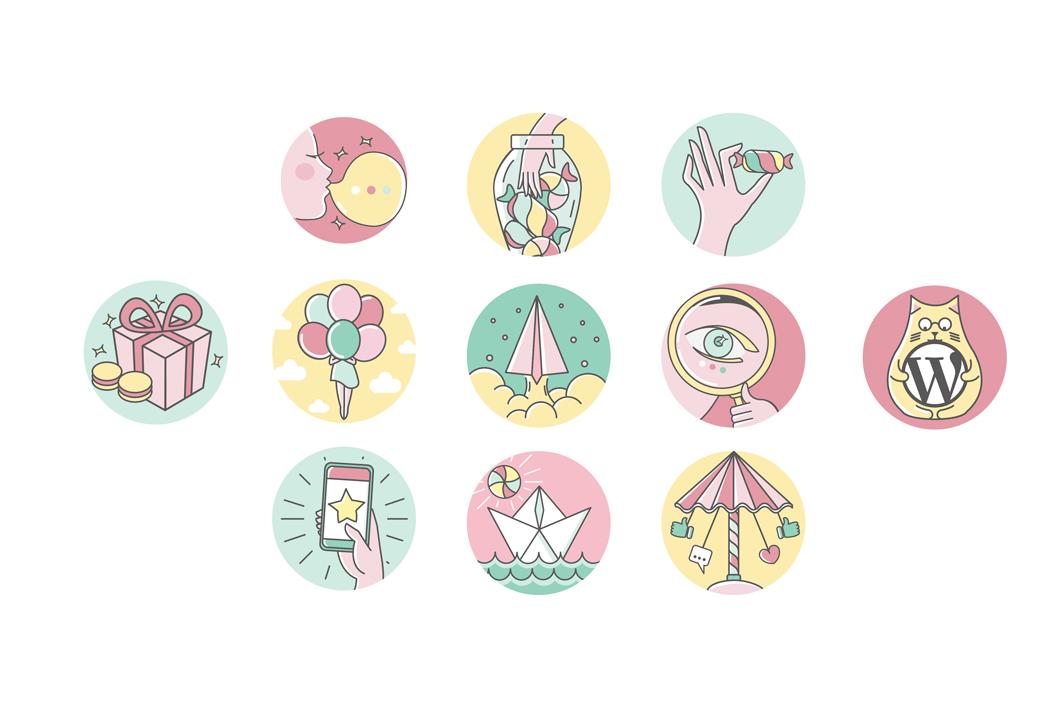 Icone illustrate sito web