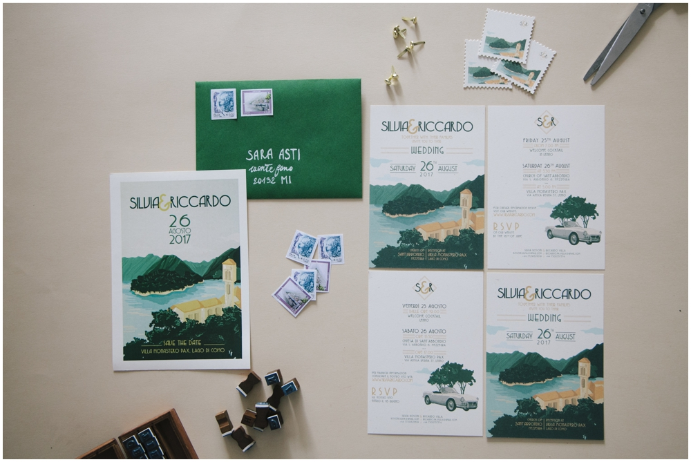 Wedding stationery illustrata Lago di Como