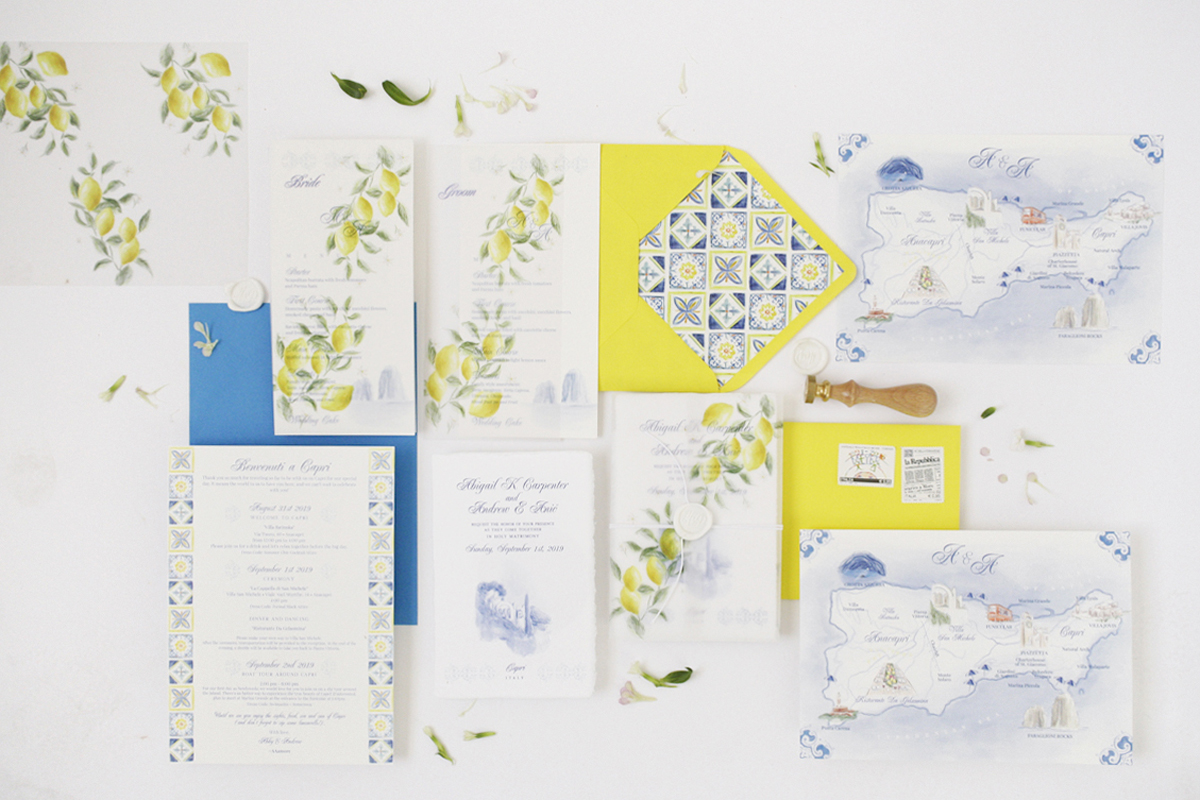 """Capri, limoni e maioliche"" wedding stationery"